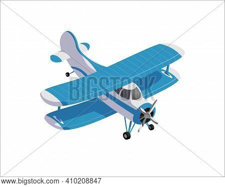 Modern Farming Airplane, Crop Duster In Cartoon Style
