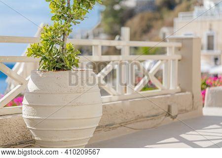 View Over The Caldera In Santorini, Greece. Islands In The Santorini Caldera. From A House In Fira,