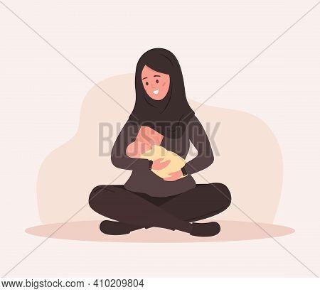 Breastfeeding Concept. Young Islamic Mother Nursing Newborn Baby. Natural Feeding, Happy Motherhood.