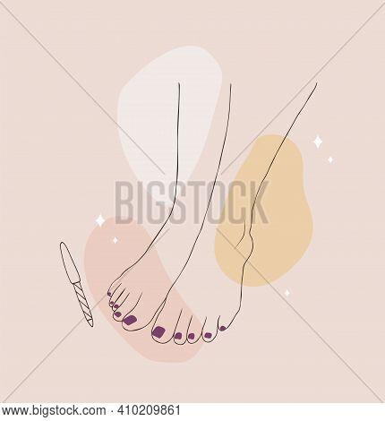 Female Pedicured Feet. Lady Painting, Polishing Nails. Nail Polish And Nail File. Vector Illustratio
