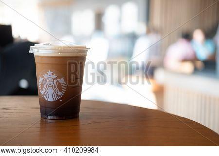 Bangkok, Thailand - February 28, 2021 : Starbucks Nitro Cold Brew Coffee In The Starbucks Take Away