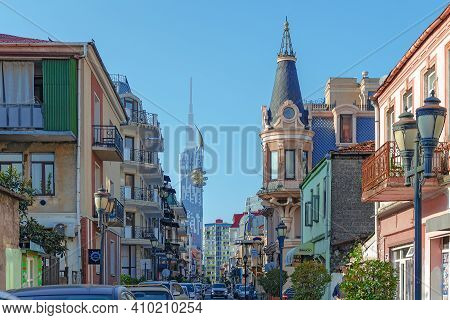 Street In The Old City Center Of Densely Crowded With Cars And Buildings. Batumi, Georgia: 2018-10-1