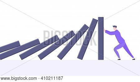 Business Resilience Or Domino Effect Metaphor Vector Illustration Concept. Adult Young Businessman P