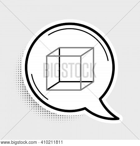 Line Geometric Figure Cube Icon Isolated On Grey Background. Abstract Shape. Geometric Ornament. Col