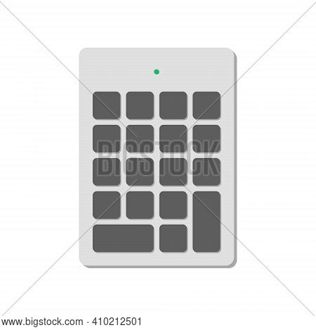 Wireless Numeric Keypad For A Computer Without Symbols With A Power Indicator. A Modern Image Of A C