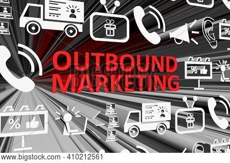 Outbound Marketing Concept Blurred Background 3d Render Illustration