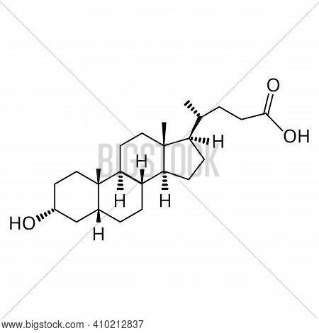 Lithocholic Acid. Bile Acid. Chemical Molecular Formula Lithocholic Acid. Vector Illustration On Iso