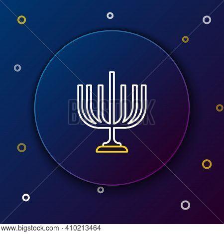 Line Hanukkah Menorah Icon Isolated On Blue Background. Hanukkah Traditional Symbol. Holiday Religio