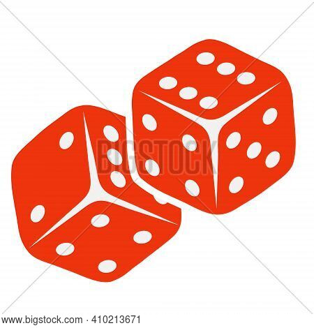 Dice, Red Dice Isolated On White Background. Vector, Cartoon Illustration. Vector.
