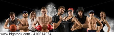 Sport collage. Fitness, tennis, swimming, boxing, basketball. Sports banner