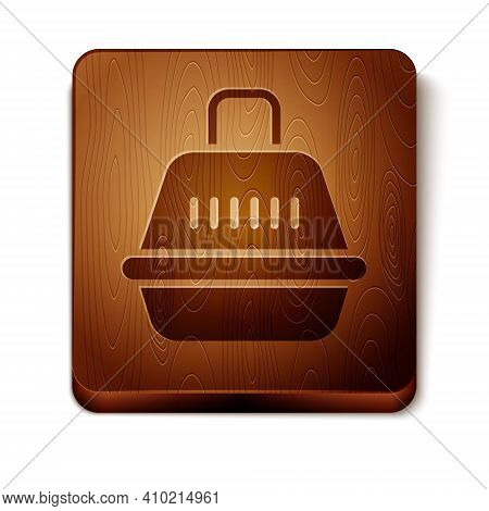 Brown Pet Carry Case Icon Isolated On White Background. Carrier For Animals, Dog And Cat. Container
