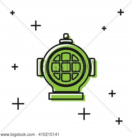 Black Aqualung Icon Isolated On White Background. Diving Helmet. Diving Underwater Equipment. Vector