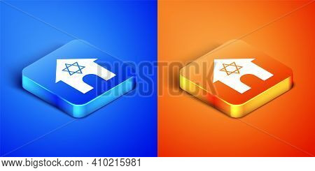 Isometric Jewish Synagogue Building Or Jewish Temple Icon Isolated On Blue And Orange Background. He
