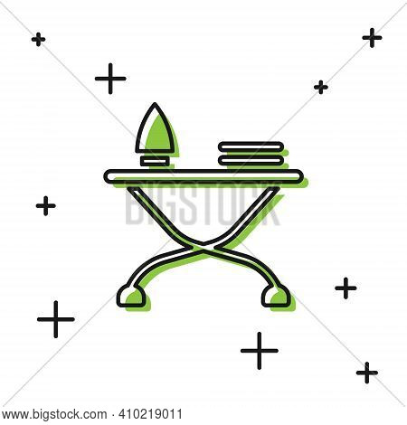 Black Electric Iron And Ironing Board Icon Isolated On White Background. Steam Iron. Vector