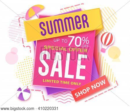 Summer Sale Vector Banner Design. Summer Sale Up To 70% Text Off Shopping Offer In Paper Art And Pat