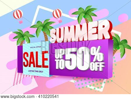 Summer Sale 3d Vector Banner Design. Summer Special Offer Sale With Up To 50% Off Text In 3d Signage