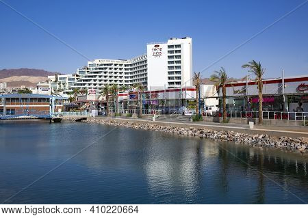 Israel, Eilat, March, 20, 2016 - Panorama Of The Eilat City On The Red Sea Coast, Israel. Eilat Is A