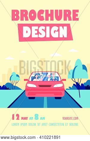 Happy Family Couple And Two Kids Riding In Car. Father Driving Automobile. Front View. Vector Illust