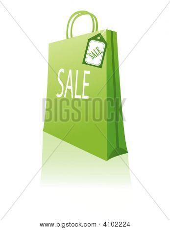 Green Shopping Bag Vector Illustration