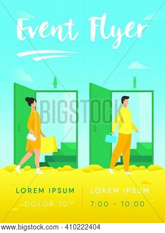 Man And Woman Walking Through Doorways For Males And Females. Public Toilet, Restroom Flat Vector Il