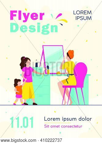 Mom Taking Care Of Her Face. Woman Applying Cream At Mirror, Kids, Daughters Flat Vector Illustratio