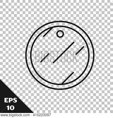 Black Line Cutting Board Icon Isolated On Transparent Background. Chopping Board Symbol. Vector