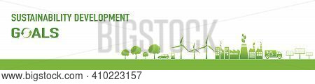 Sustainability Development Goals And Green Industries Business Concept Banner, Vector Illustration