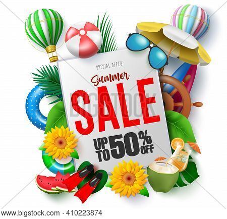 Summer Sale Vector Template Design. Summer Sale Up To 50% Off Text In White Space With Beach Element