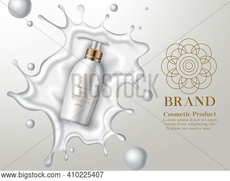 Cosmetic Milk Lotion Product Vector Banner Template. Cosmetic Body Lotion Product With Liquid Splash
