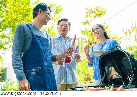Happy Seniors Food Meeting Bbq Grilled Party Style