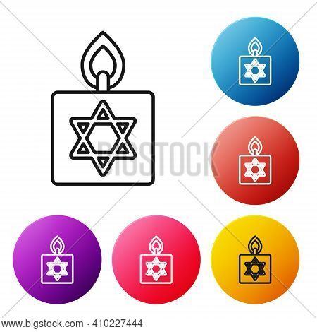 Black Line Burning Candle In Candlestick With Star Of David Icon Isolated On White Background. Cylin