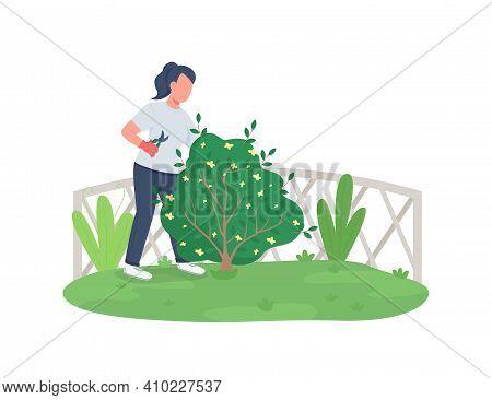 Woman Trimming Bush Flat Color Vector Faceless Character. Garden Maintenance. Girl Cutting Hedge. Sp