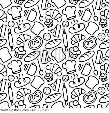 Bakery Pattern With Food And Baking Accessories White Color Line Style On Brown Background For Bread