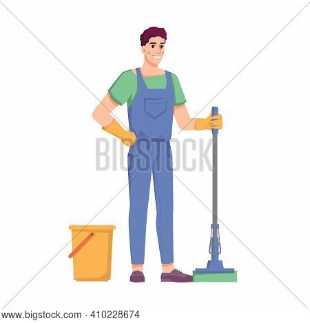 Cleaning Service And Housekeeping, Isolated Man With Mop And Bucket. Male Personage Mopping Floor. O