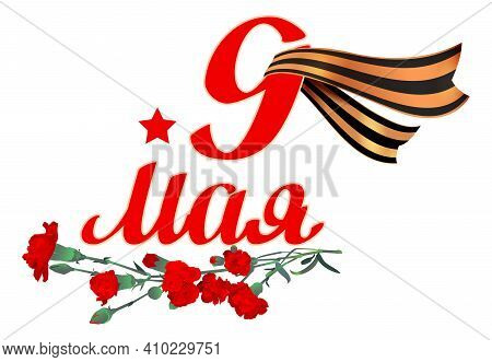 May 9 Victory Day Text Russian Veterans Day. Red Carnation Bouquet George Ribbon Symbol Of Victory I