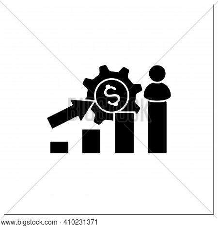 Growth Business Glyph Icon. Gradually Rise Of Business, Reaches Point For Expansion. Successful Comp
