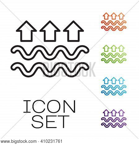 Black Line Waves Of Water And Evaporation Icon Isolated On White Background. Set Icons Colorful. Vec