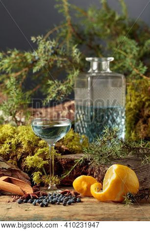 Gin In A Small Glass And Lemon. Anise, Coriander, And Juniper Berries Are Scattered On A Wooden Tabl