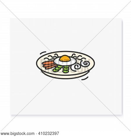 Bibimbap Color Icon. Traditional Korean Dish. Asian Food Of Mixed Rice With Vegetables, Chilli Paste