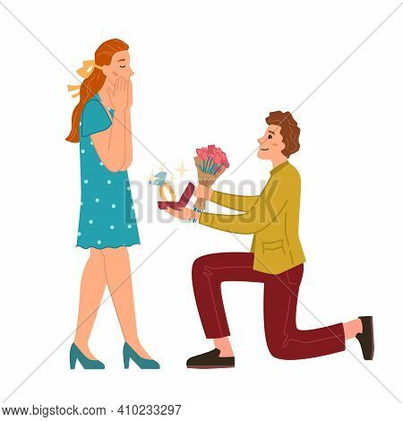 Proposal To Marry, Man Gives Flowers To Woman Isolated Flat Cartoon Characters. Vector Boyfriend Sta