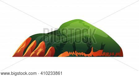 Green Forest In Mountains, Summer Nature Landscape Isolated Cartoon Icon. Vector Hills With Grass, V