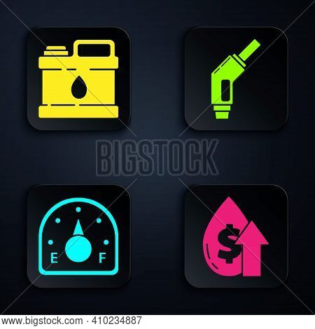 Set Oil Price Increase, Canister For Motor Machine Oil, Motor Gas Gauge And Gasoline Pump Nozzle. Bl