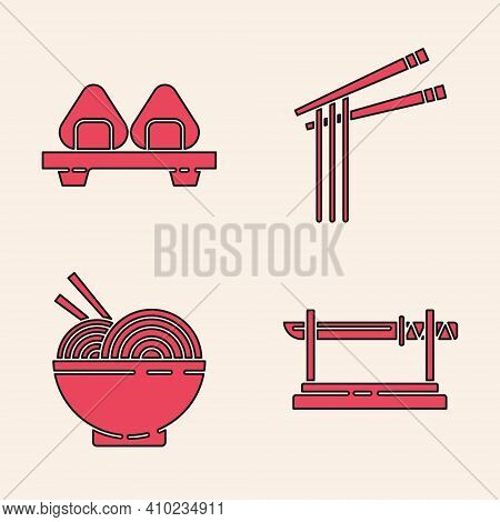 Set Traditional Japanese Katana, Sushi On Cutting Board, Asian Noodles And Chopsticks And Asian Nood