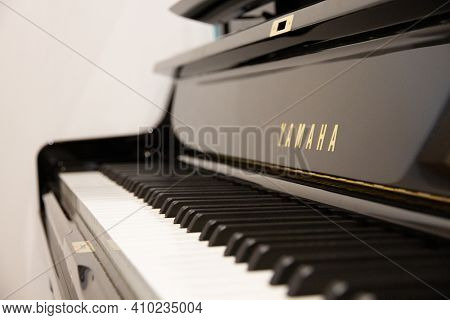 Paris - France -december 1, 2020 : Yamaha Classical Piano Close-up View. Black And White