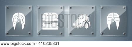 Set Fish Steak, Grilled Steak Meat And Fire Flame, Burger And Fish Steak. Square Glass Panels. Vecto