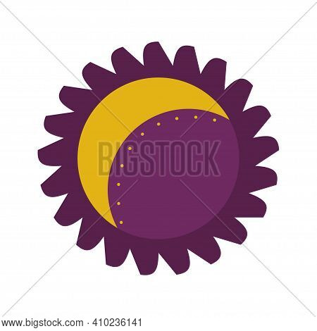 The Moon Is Inside The Sun With The Rays Isolated On A White Background. Vector Illustration For The