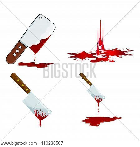 Cleaver With Blood Icon Set. Bloody Butcher Knife Using To Cut Meat. Vector Illustration Isolated On