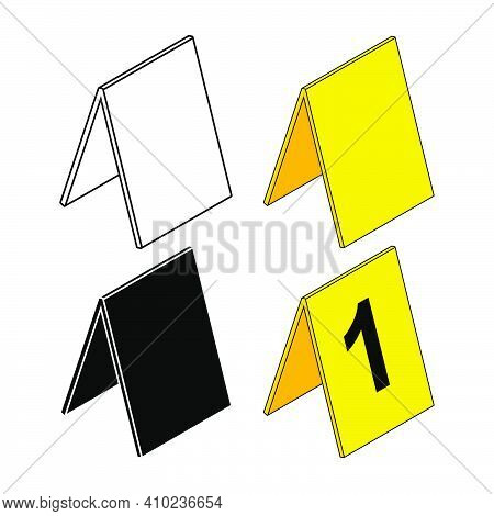 Crime Scene Markers Set. Criminalistics Label Icon Collection. Empty Or Blank Outline And Silhouette