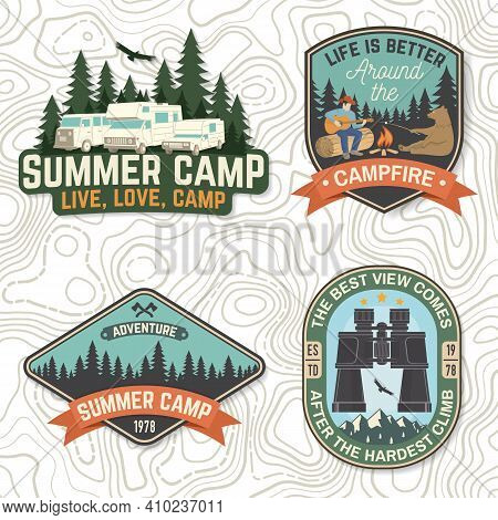 Set Of Summer Camp Patches. Vector Concept For Shirt Or Logo, Print, Stamp, Patch Or Tee. Vintage Ty