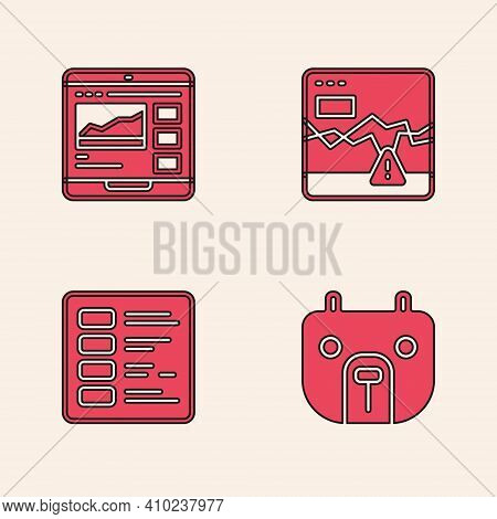 Set Bear Market, Trading Courses, Failure Stocks And Business Finance Report Icon. Vector